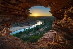 Alba alla finestra delle nature nel parco nazionale di kalbarri, Australia occidentale 9 immagine stock libera da diritti