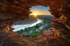 Alba alla finestra delle nature nel parco nazionale di kalbarri, Australia occidentale 10 fotografia stock libera da diritti