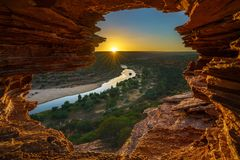 Alba alla finestra delle nature nel parco nazionale di kalbarri, Australia occidentale 11 immagine stock libera da diritti