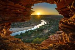 Alba alla finestra delle nature nel parco nazionale di kalbarri, Australia occidentale 14 immagine stock libera da diritti