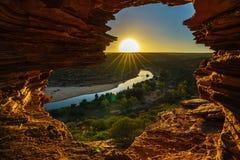 Alba alla finestra delle nature nel parco nazionale di kalbarri, Australia occidentale 19 fotografia stock
