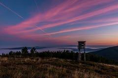 Alba alla montagna di Lousa, Lousa, Portogallo Fotografie Stock