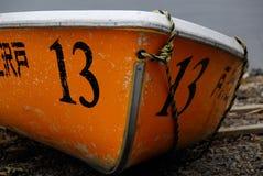 Alba arancio del paesaggio del monte Fuji delle imbarcazioni a remi fotografie stock