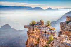 Alba attraverso la nebbia in Grand Canyon, Arizona Immagine Stock