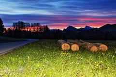 Alba austriaca del percorso della montagna delle alpi dell'azienda agricola Immagini Stock