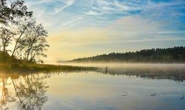 Alba brillante sulla mattina nebbiosa e nebbiosa di estate sul lago corry Immagini Stock