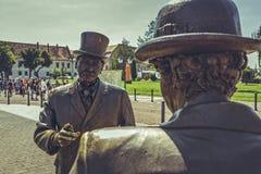 Alba Carolina Citizens Bronze Statues foto de archivo libre de regalías