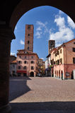 Alba central square, province of Cuneo, Piemonte, Italy. The central square - piazza - in the Italian city of Alba, region of Piemonte, province of Cuneo, Italy royalty free stock image