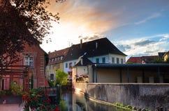 Alba a Colmar, l'Alsazia, Francia Fotografia Stock