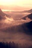 Alba colorida del otoño Brumoso despertando en las colinas hermosas Los picos de colinas se están pegando hacia fuera de la niebl Imagen de archivo