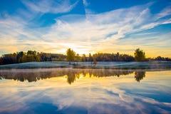 Alba con horizont Immagine Stock