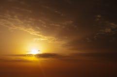 Alba con il volo dell'uccello vicino al sole. Immagini Stock