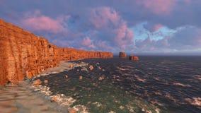 Alba con la rottura del wavessunset dell'oceano con la rottura della rappresentazione delle onde di oceano 3D Immagine Stock Libera da Diritti