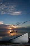 Alba con le barche Fotografia Stock Libera da Diritti