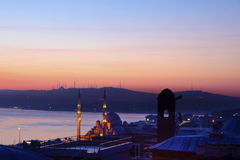 Alba a Costantinopoli, paesaggio di Bosphorus Costantinopoli Fotografia Stock Libera da Diritti