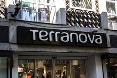 Terranova shop in `Via Maestra` the main street dedicated to shopping in the city of Alba in Italy. stock photos