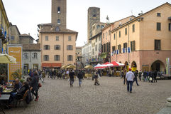 Alba (Cuneo), the main square. Color image Stock Photos