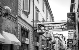 Alba (Cuneo), signs of the International Truffle Fair. Black and white photo. Royalty Free Stock Images