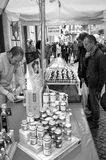 Alba (Cuneo), the truffles market. Black and white photo. Royalty Free Stock Images