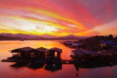 Alba da Sangklaburi, Tailandia Fotografia Stock Libera da Diritti