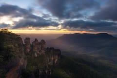 Alba dal parco nazionale blu delle montagne Immagini Stock Libere da Diritti