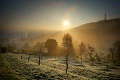 Alba dall'iarda di Petrin a Praga, repubblica Ceca Immagine Stock