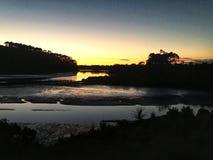Alba dalla riva del fiume a Auckland Fotografia Stock Libera da Diritti
