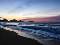 Alba dalla spiaggia a Vila Baleira, Oporto Santo Island fotografia stock libera da diritti