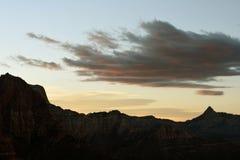 Alba dalla traccia dell'insenatura del legname, canyon di Kolob, Zion National Park, Utah fotografie stock