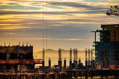 Alba del centro della costruzione del grattacielo di Phoenix fotografia stock libera da diritti