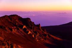 Alba del cratere di Haleakala Fotografia Stock