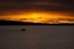 Alba del lago asciutto desert Immagine Stock