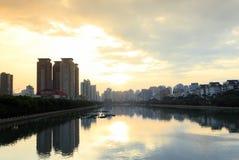 Alba del lago del yuandang Fotografie Stock