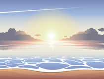 Alba del mare della spiaggia Fotografie Stock