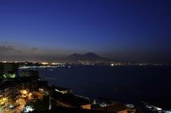 Alba della baia di Napoli con Vesuvio Fotografia Stock Libera da Diritti