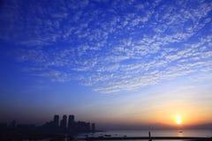 Alba della baia di Shekou Fotografie Stock Libere da Diritti