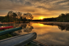 Alba della canoa Fotografia Stock