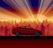 Alba della città dell'automobile di viaggio Fotografia Stock