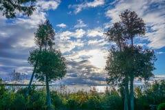 Alba della contea di Door sopra il lago Michigan Immagine Stock