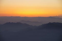 Alba della montagna di Huangshan Fotografie Stock