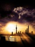 Alba della siluetta di Shanghai Pudong Fotografia Stock