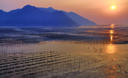 Alba della spiaggia del Fujian Xiapu, Cina Fotografia Stock