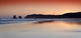 Alba della spiaggia di Hendaye Immagine Stock