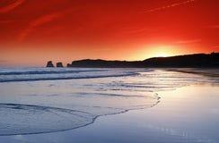 Alba della spiaggia di Hendaye Fotografia Stock
