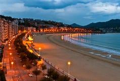 Alba della spiaggia di San Sebastian Fotografia Stock Libera da Diritti