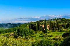 Alba della Toscana in campagna fuori di Firenze Fotografia Stock