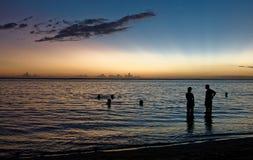 Alba di île de la réunion della spiaggia del mare fotografie stock libere da diritti
