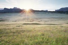 Alba di Alpe di Siusi Fotografia Stock Libera da Diritti