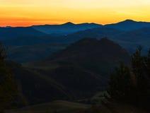 Alba di bellezza nelle montagne Immagine Stock Libera da Diritti
