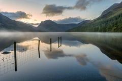 Alba di Buttermere, distretto del lago, Regno Unito Fotografia Stock Libera da Diritti